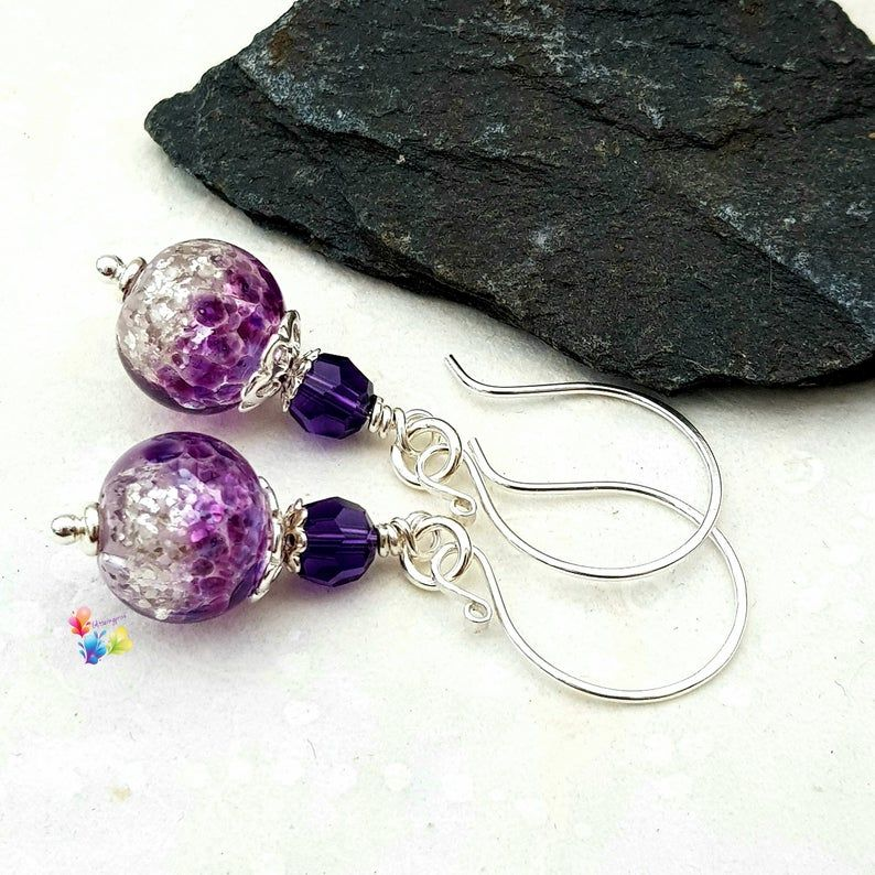 Purple Glitter Earrings Sterling Silver