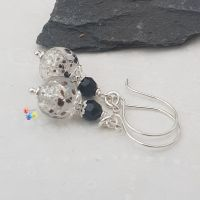 Monochrome Glitter Earrings Sterling Silver