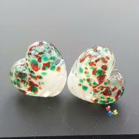White Ribbon Christmas Heart Lampwork Beads