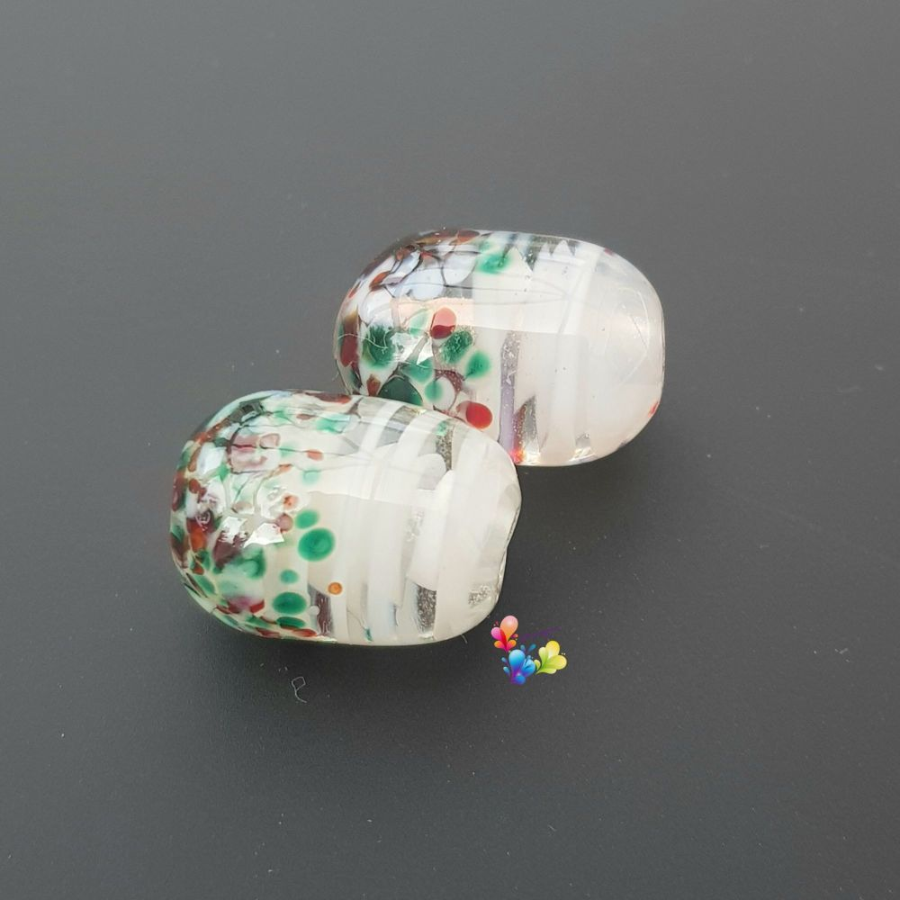 White Ribbon Christmas Capsule Lampwork Beads