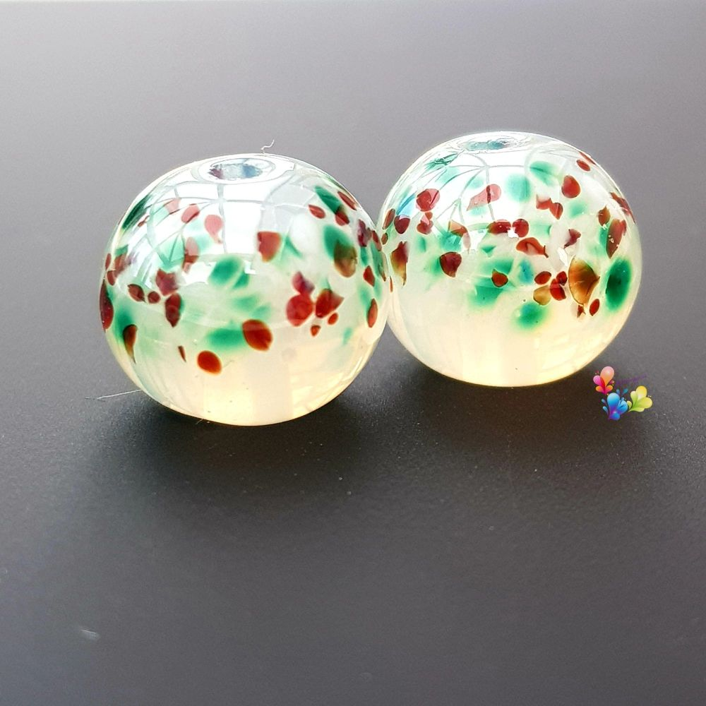 Misty Christmas  Lampwork Beads