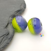 Ink & Lime Ombre Scribble Glass Lampwork Beads