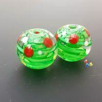 Green Ribbon Christmas Spot Pair Lampwork Beads