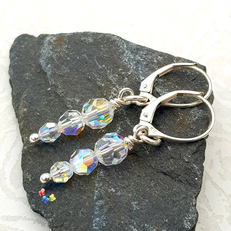 Crystal Icicle earrings Sterling Silver