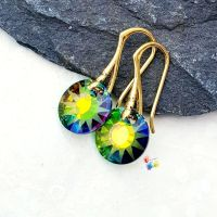 * Medium Vitral Sun Earrings, 24K Gold Earrings