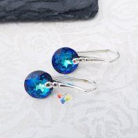 Swarovski Bermuda Blue Classic Cut Earrings Sterling Silver
