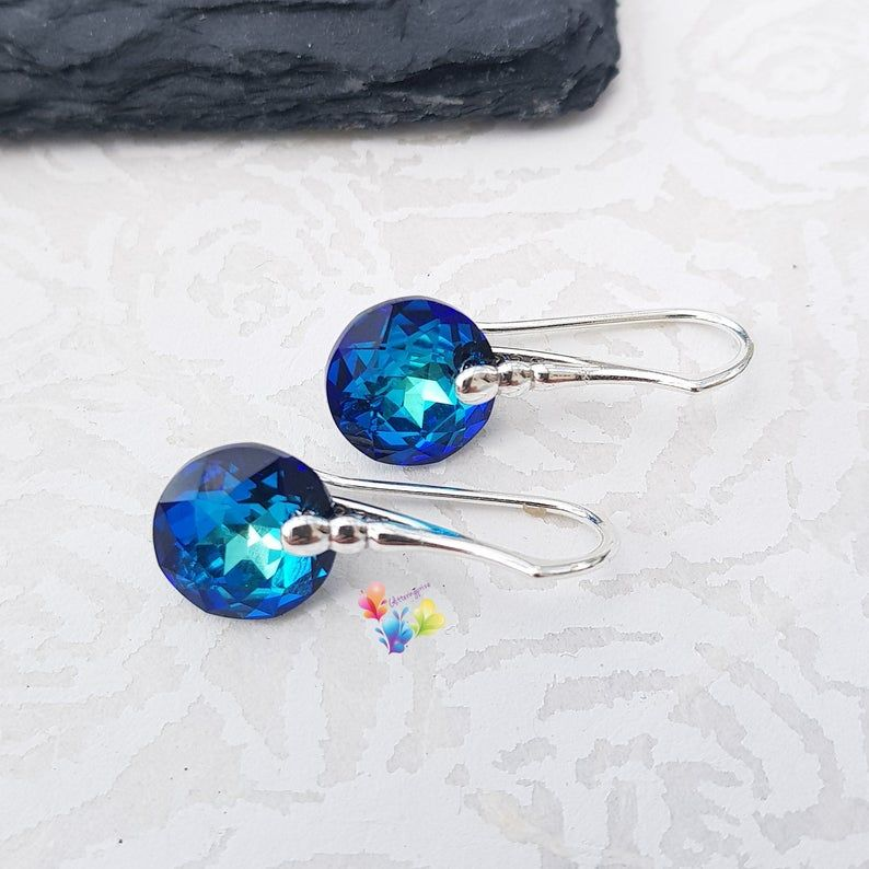 Swarovski Bermuda Blue Classic Cut Earrings Sterling Silver