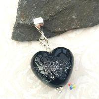 Black and Silver Memorial Lampwork Beads