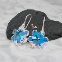 Swarovski Crystal AB  Snowflake Earrings Sterling Silver