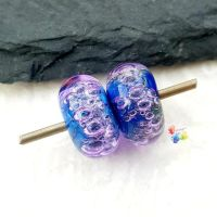 Violet Nights Bubble Lampwork Bead Pair