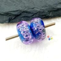 Violet Nights Bubble Lampwork Bead Pair