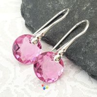 Swarovski Rose Pink Classic Cut Earrings Sterling Silver