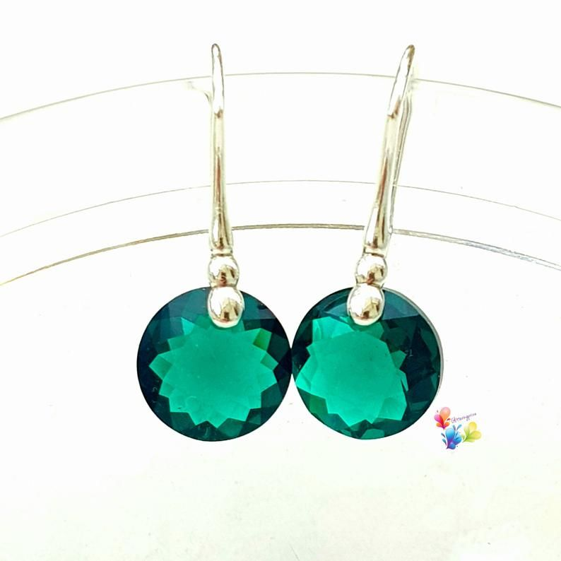Swarovski Emerald Green Classic Cut Earrings Sterling Silver