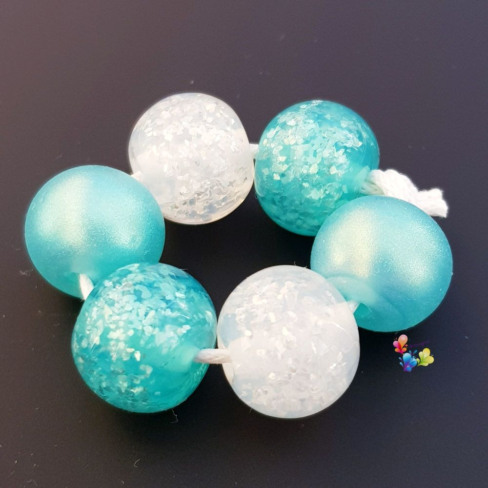Ice Mint Glitter Shimmer Trio Pairs Lampwork Beads