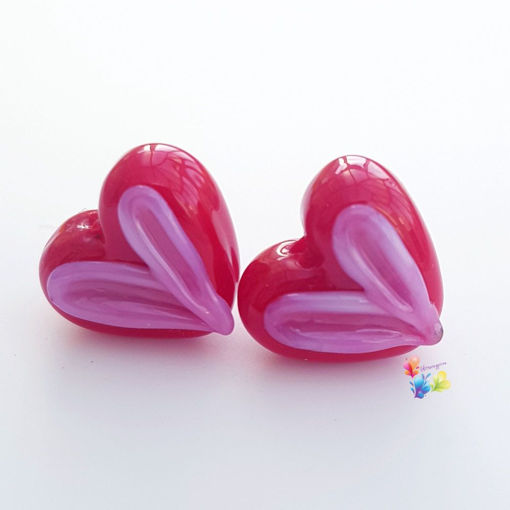 Cupid's Kiss Heart Glass Lampwork Beads