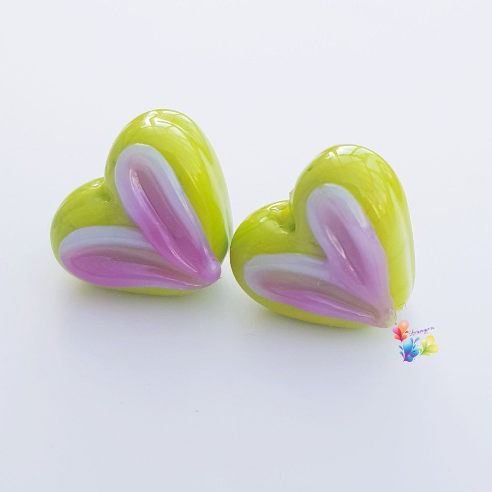 Lime & Hot Pink Heart Glass Lampwork Beads