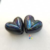 Black & Lt Gold Lustre Heart Glass Lampwork Beads