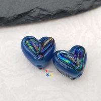 Tardis & Triton Lustre Heart Glass Lampwork Beads