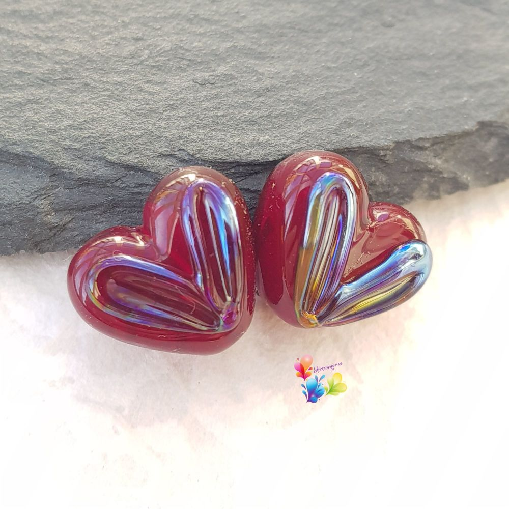 Garnet Halo Lustre Heart Glass Lampwork Beads