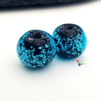 Blue Neon  Glitter Round Lampwork Bead Pair
