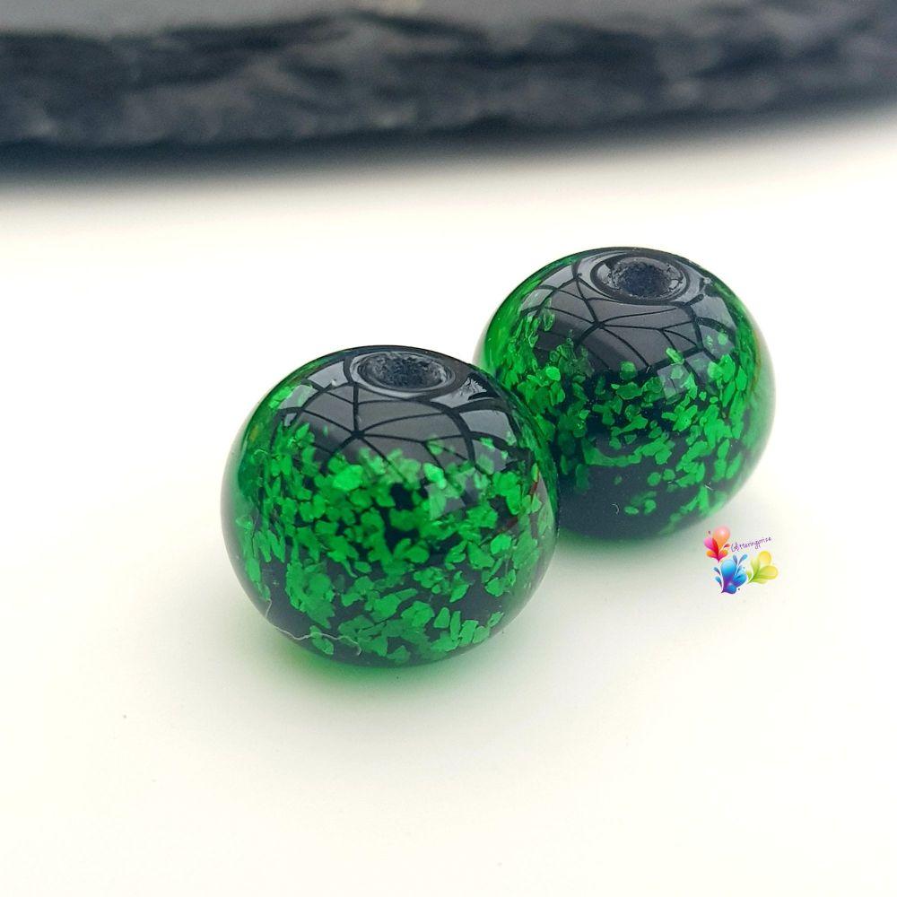 Green Neon  Glitter Round Lampwork Bead Pair