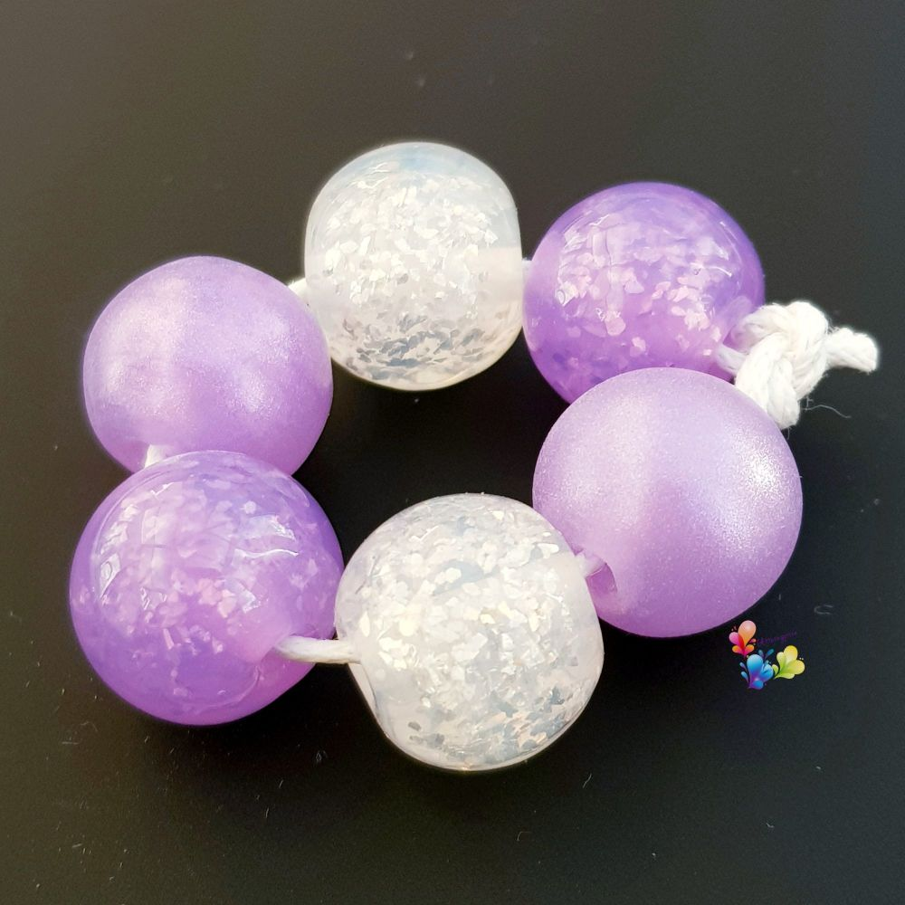 Water Violet Glitter Shimmer Trio Pairs Lampwork Beads