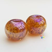 Hyper Light Golden Glitter Round Lampwork Bead Pair