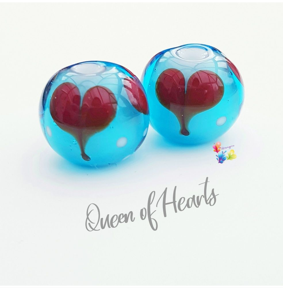 Queen Of Hearts Glass Lampwork Beads