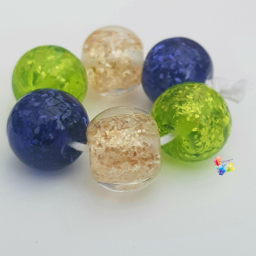 Passion Flower Glitter Shimmer Trio  of Pairs Lampwork Beads