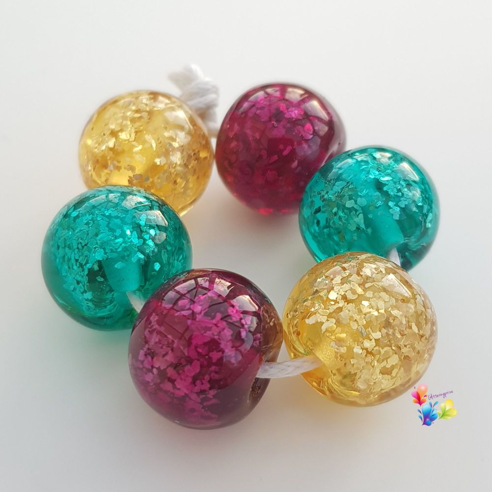 Jewel Glitter Shimmer Trio  of Pairs Lampwork Beads