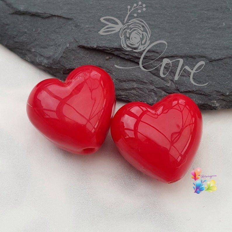 Cherry Red Hearts Lampwork Bead Pair