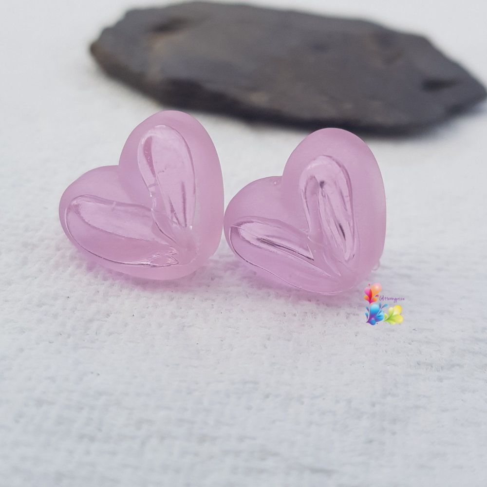 Rose Pink Window Heart Glass Lampwork Beads
