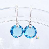 Swarovski Aquamarine Classic Cut Earrings Sterling Silver