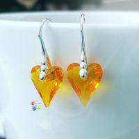 Premium Sunflower Crystal Wild Heart Earrings Sterling Silver