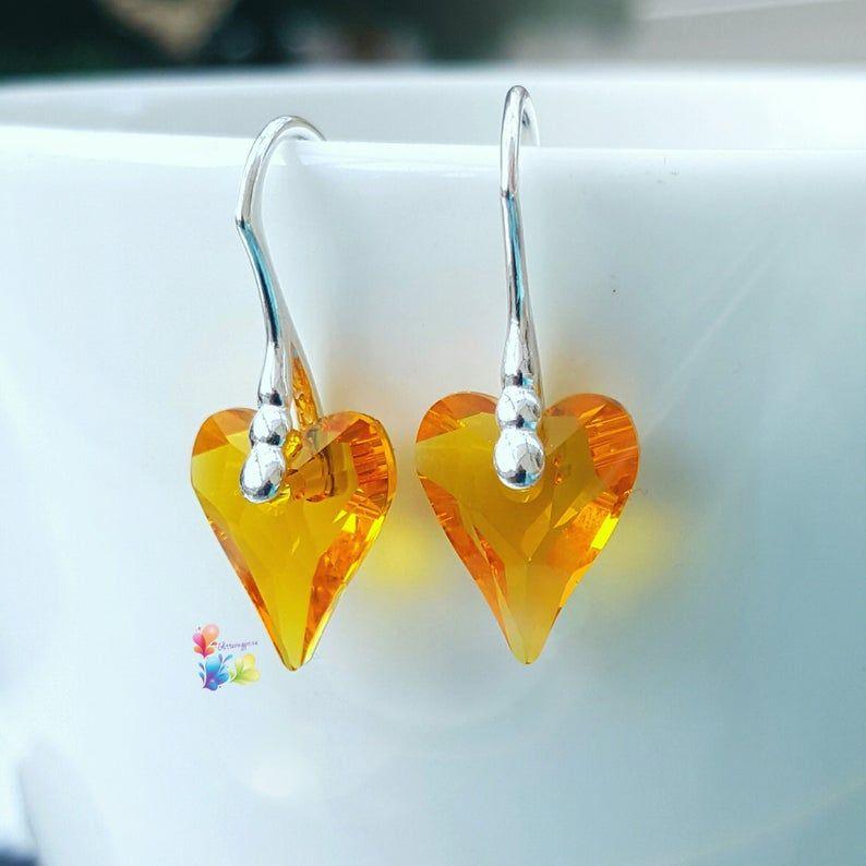 Swarovski Sunflower Crystal Wild Heart Earrings Sterling Silver