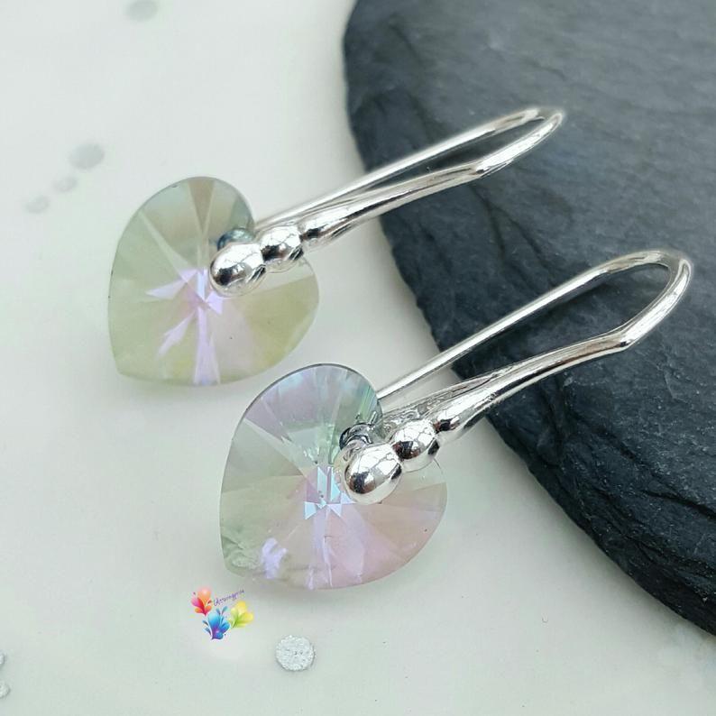 Swarovski Paradise Shine Heart Earrings Sterling Silver