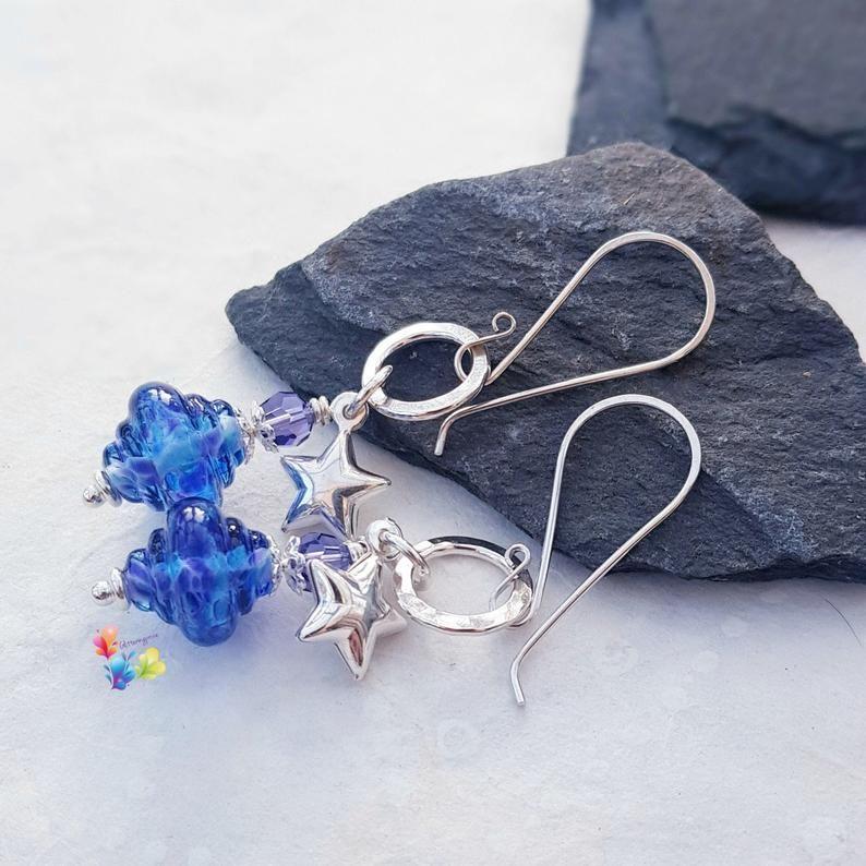 Parma Violet Spinner Sterling Silver Earrings