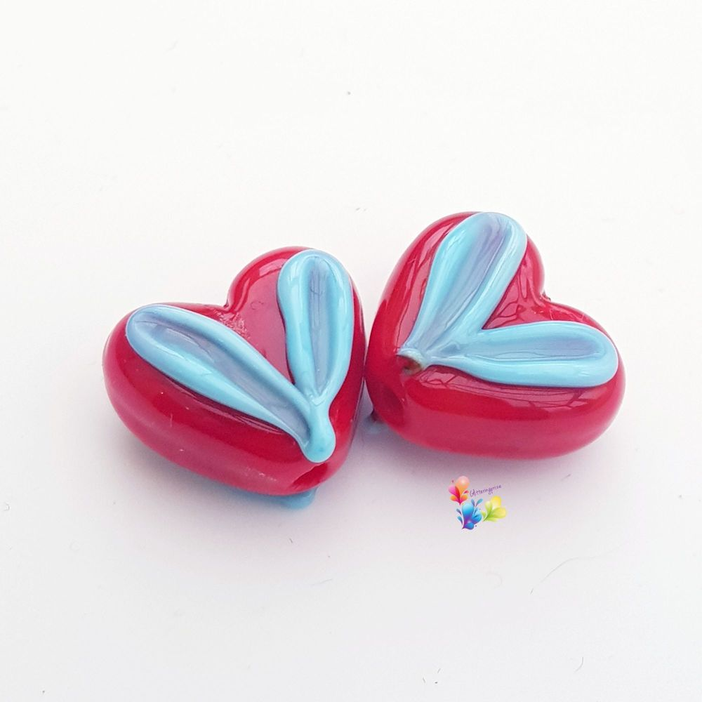 Red & Blue Heart Glass Lampwork Beads