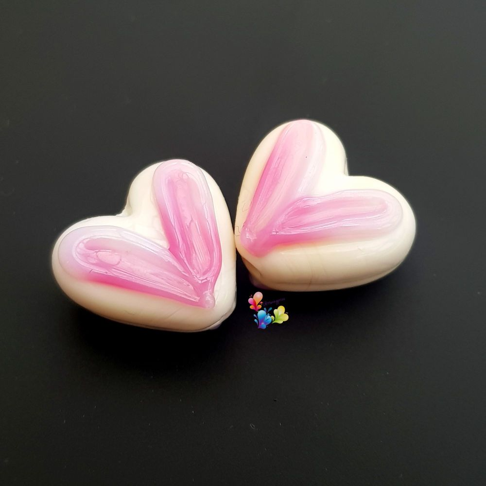 Pink Buttermilk Heart Glass Lampwork Beads