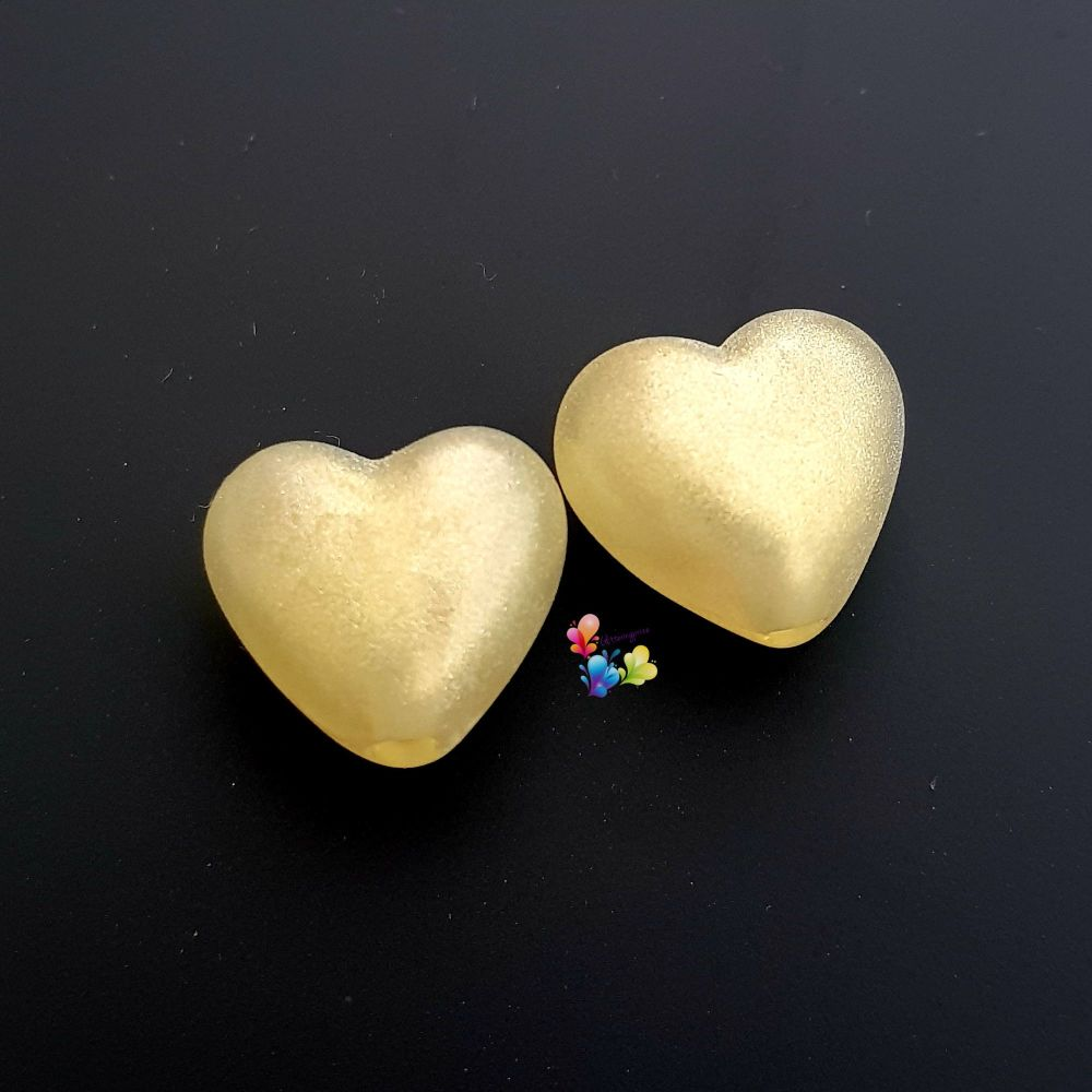 Misty Gold Shimmer Hearts Lampwork Bead Pair