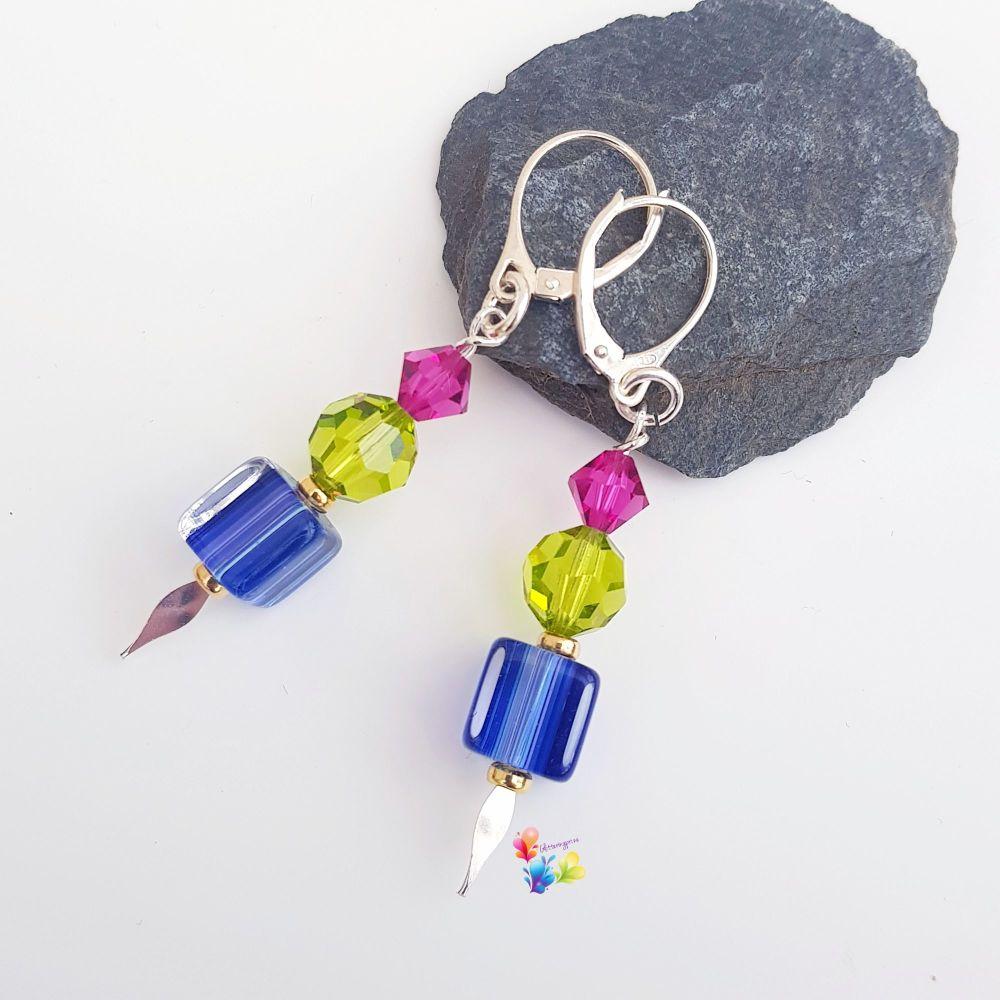 Jewel Tone Earrings Sterling Silver