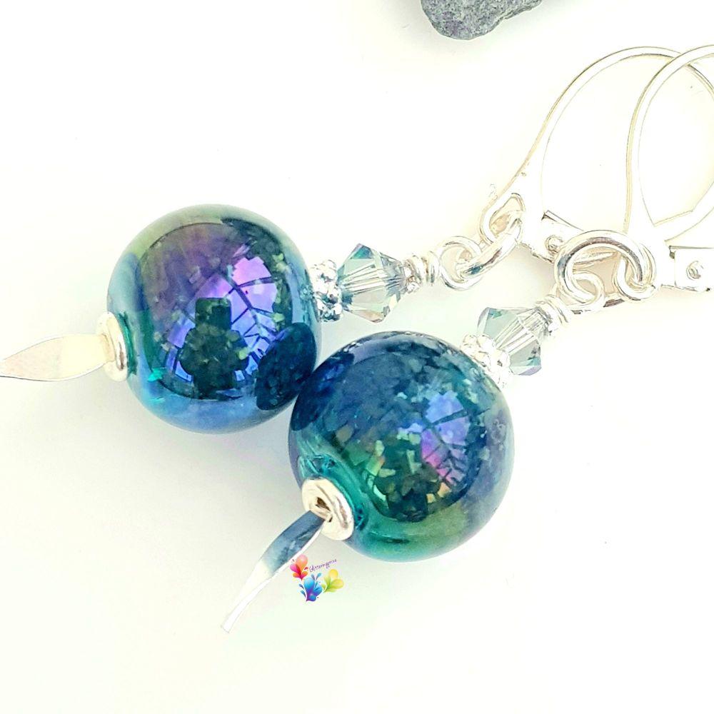 Metallic Blue Lustre Earrings Sterling Silver