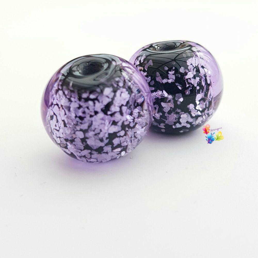 Purple Neon  Glitter Round Lampwork Bead Pair