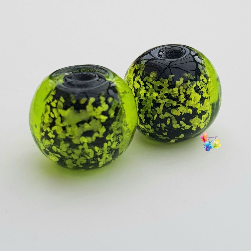 Lime Green Neon  Glitter Round Lampwork Bead Pair
