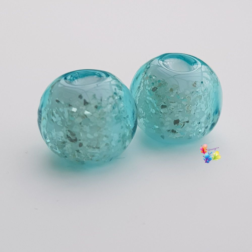 Aqua Over White Glitter Round Lampwork Bead Pair