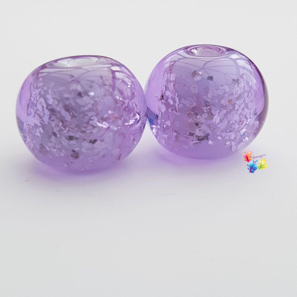 Lavender Over White Glitter Round Lampwork Bead Pair