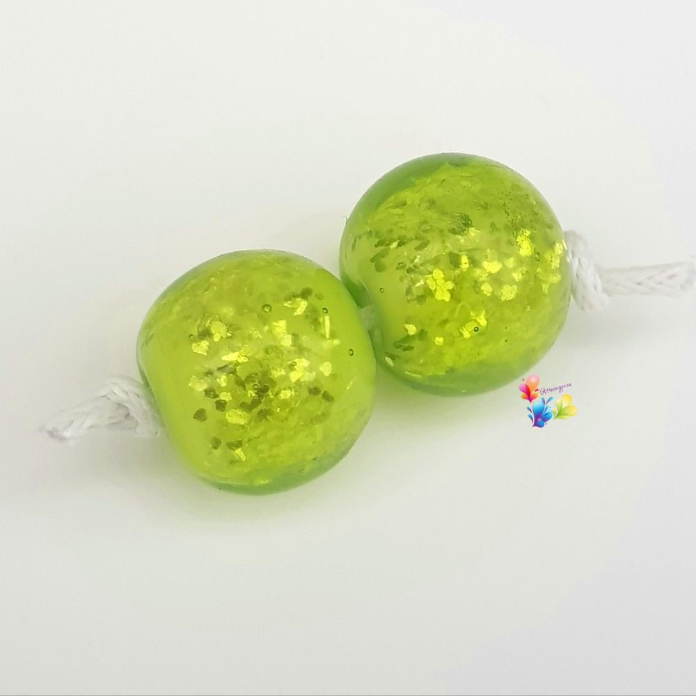 Lime Over White Glitter Round Lampwork Bead Pair