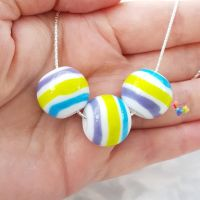 Beach Ball Stripey Sterling Silver Necklace