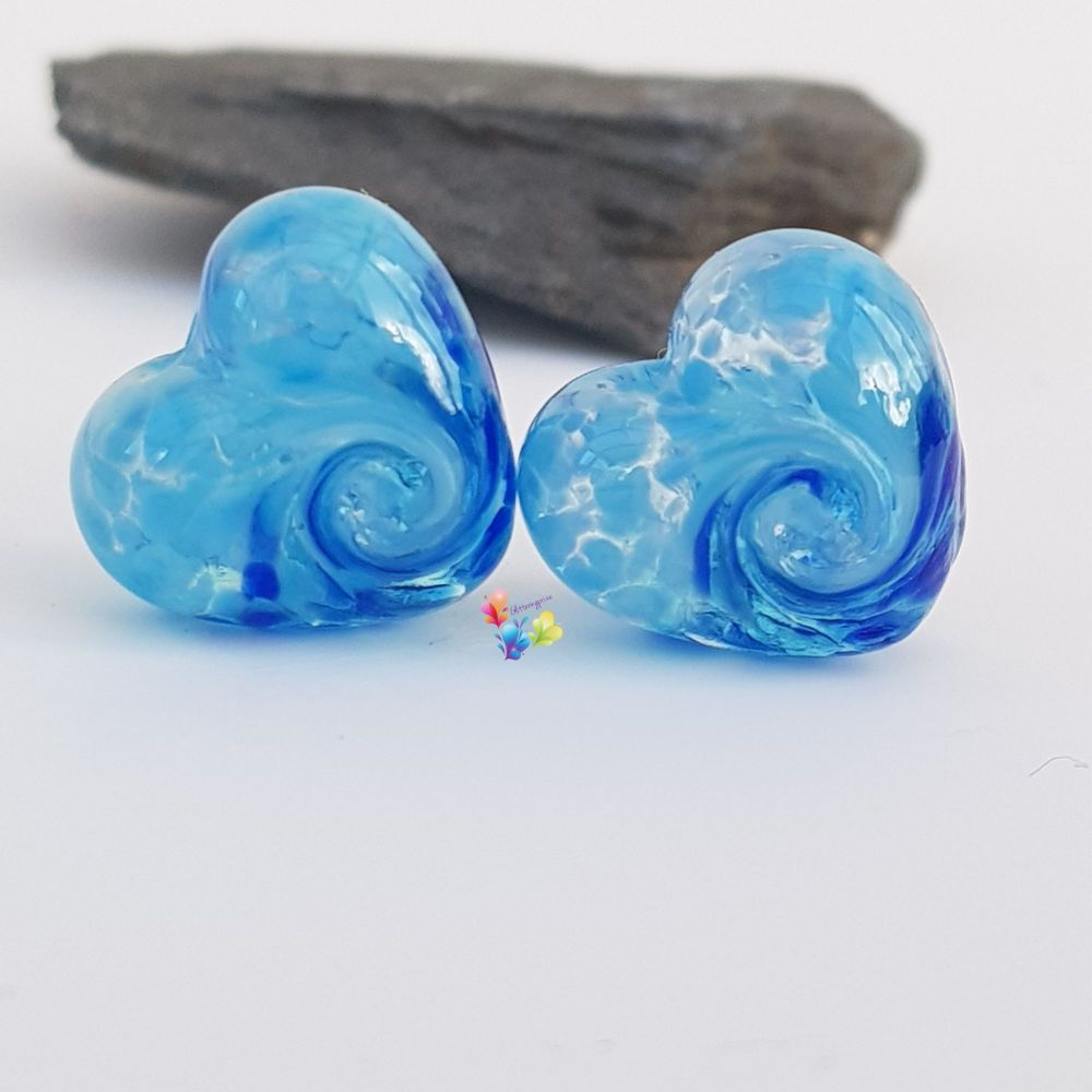 Baby River 50/50 Twist Heart Lampwork Bead Pair