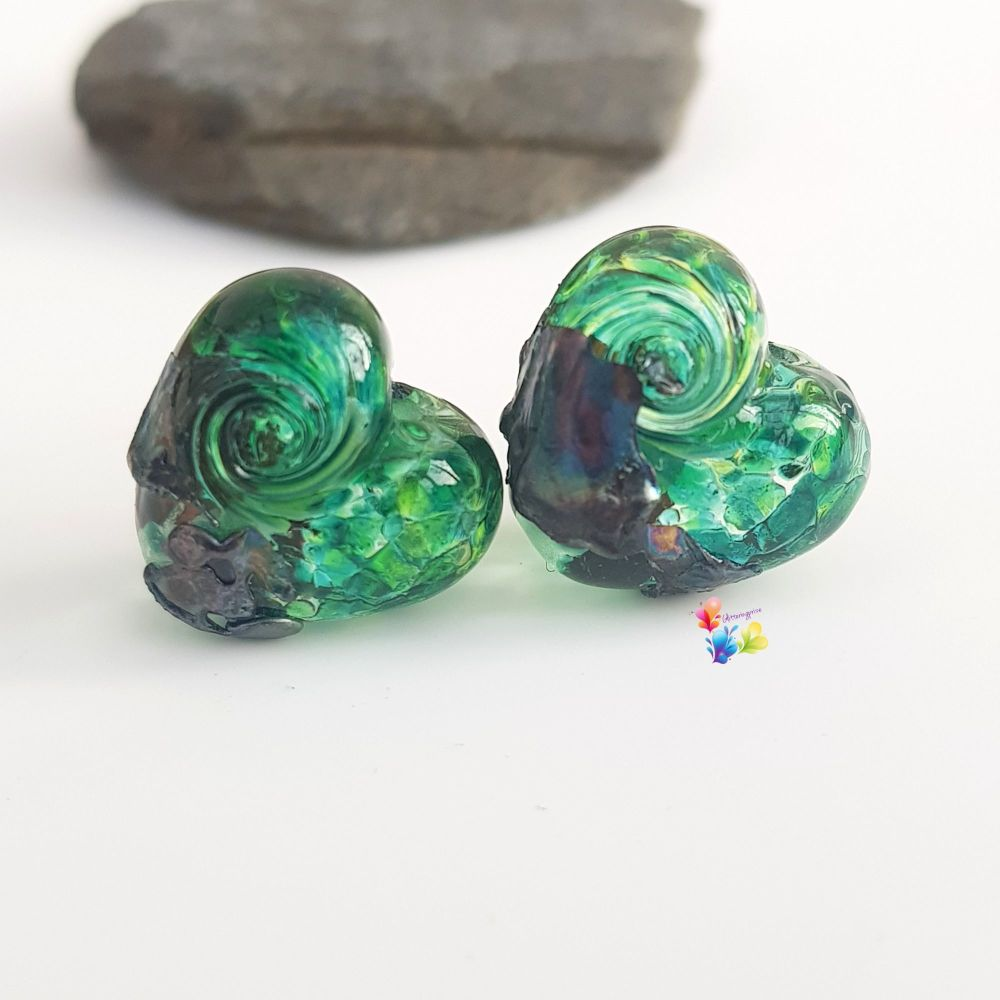 River Mask Heart Lampwork Bead Pair